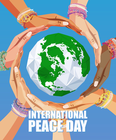 Cartel de la Paz Internacional del vector del día Foto de archivo - 44869504
