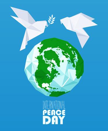 mundo manos: Cartel de la Paz Internacional del vector del día Vectores