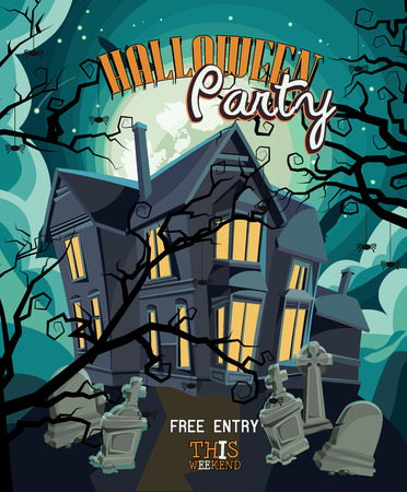 cemetery: Halloween party vector invitation card