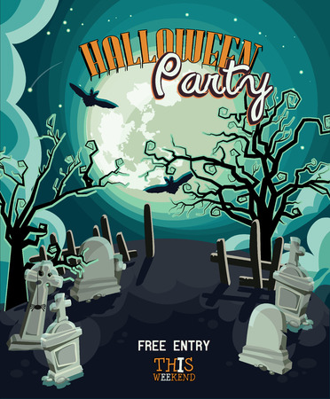 graves: Halloween party vector invitation card