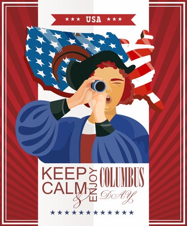 christopher columbus: Columbus day poster. Vector illustration Illustration