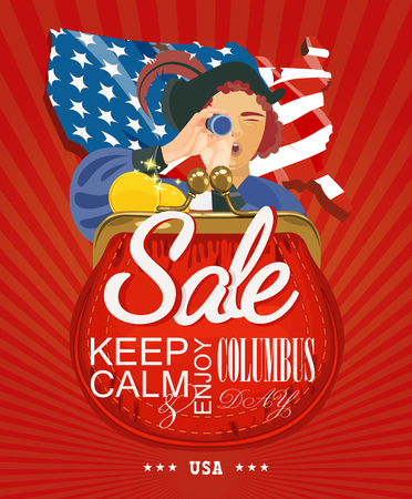 columbus: Columbus day poster. Sale. Vector illustration Illustration