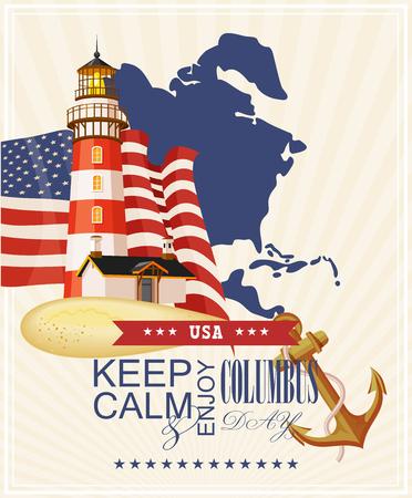 columbus: Columbus day poster. Vector illustration Illustration