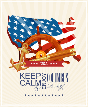 calendar day: Columbus day poster. Vector illustration Illustration