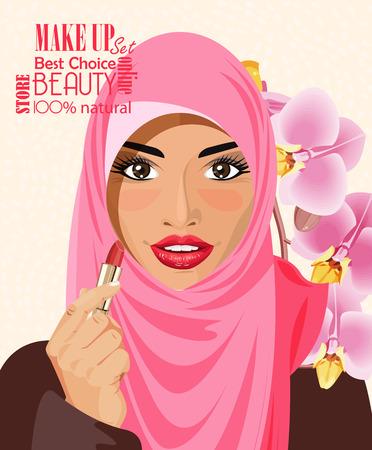 muslim fashion: Pretty Arab woman in the hijab holding lipstick on light background vector illustration