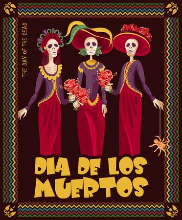 死者の頭蓋骨の日。カラベラ化粧と女性。Dia デ ロス ムエルトス スペイン語のテキスト。