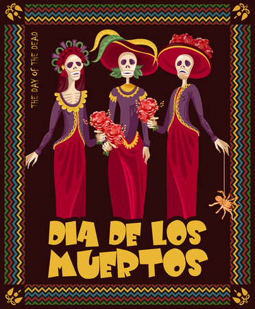 day of the dead: Day of the dead skull. Woman with calavera makeup. Dia de los muertos Text in Spanish.