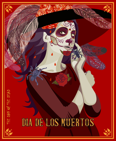 tattoo girl: Day of the dead skull. Woman with calavera makeup. Dia de los muertos Text in Spanish.