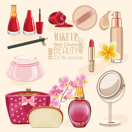 beauty make up: Highly detailed cosmetics icons set. Make Up and Beauty Symbols Illustration