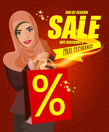 chicas de compras: Retrato de mujer feliz árabe moderna con bolsa de color rojo. Mensaje de texto Venta