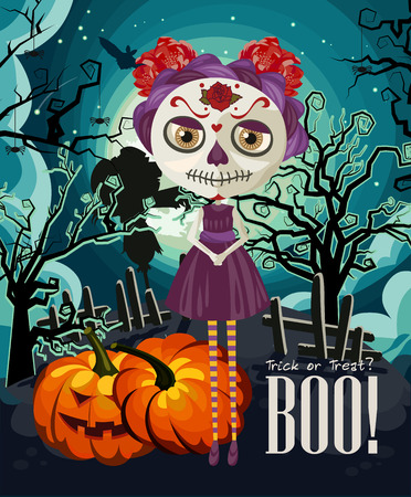 halloween tree: Happy Halloween vector invitation card with zombie