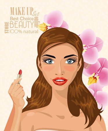 light brown background: Pretty woman with brown hairs holding lipstick on light background vector illustration Illustration