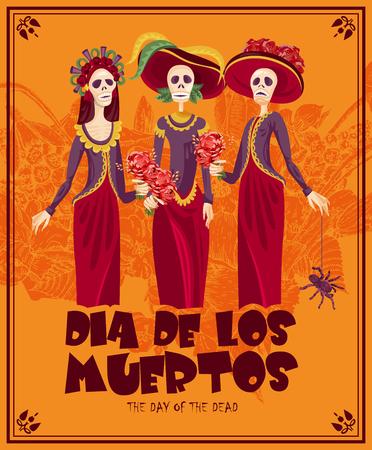 ¢  day of the dead       ¢: Día del cráneo muerto. Mujer con maquillaje calavera. Día de los Muertos Texto en español.