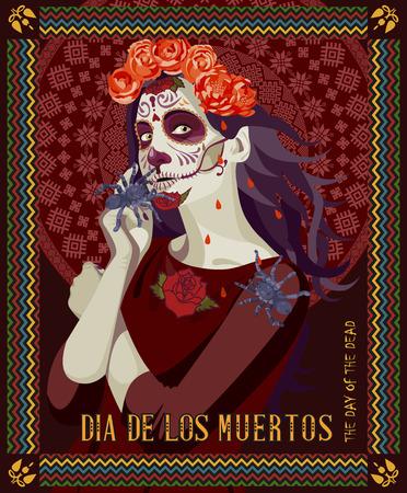 dia de muertos: Día del cráneo muerto. Mujer con maquillaje calavera. Día de los Muertos Texto en español.