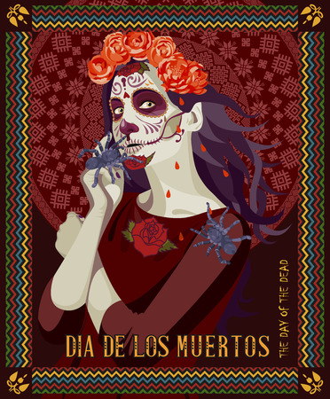 day of dead: Day of the dead skull. Woman with calavera makeup. Dia de los muertos Text in Spanish.