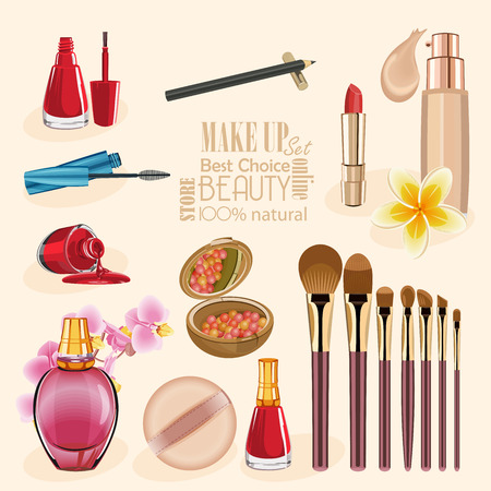 cosmetics bag: Highly detailed cosmetics icons set. Make Up and Beauty Symbols Illustration