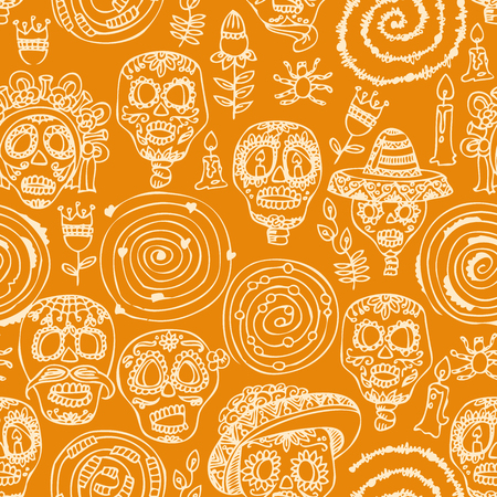 Day of the dead skull. Seamless pattern. Dia de los muertos Text in Spanish.