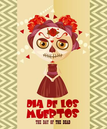 dia de muerto: Día del cráneo muerto. Mujer con maquillaje calavera. Día de los Muertos Texto en español.
