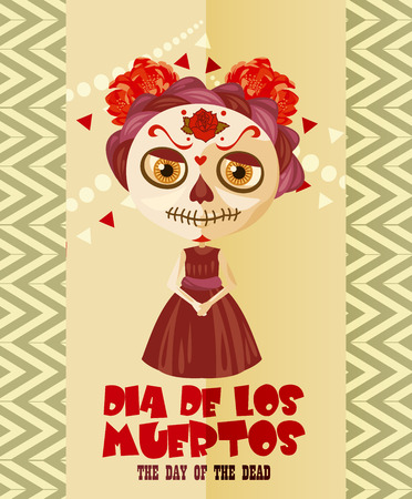 Tag des toten Schädels. Frau mit calavera Make-up. Dia de los muertos Text in Spanisch.