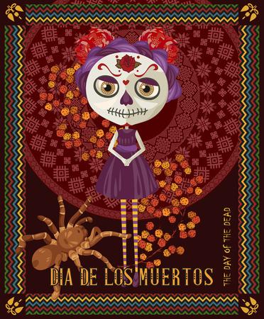 tete de mort: Jour du crâne mort. Femme avec Calavera maquillage. Dia de los muertos texte en espagnol.