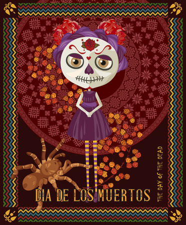 Day of the dead skull. Woman with calavera makeup. Dia de los muertos Text in Spanish.