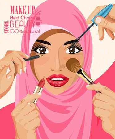 Muchas manos con cepillo cosméticos hacer maquillaje de las mujeres árabes glamour en hijab