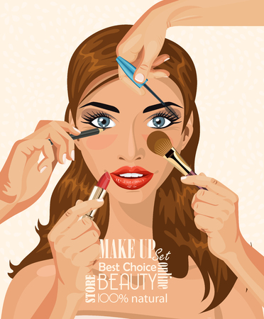 healthy girl: Many hands with cosmetics brush doing make up of glamour women Illustration