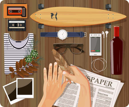 subculture: Hipster style elements and icons set for retro design Illustration