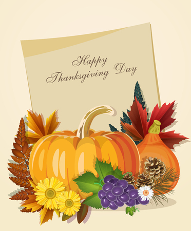 fall harvest: Happy Thanksgiving Day greeting card with pumpkin, autumn leaves and space for your text. Illustration