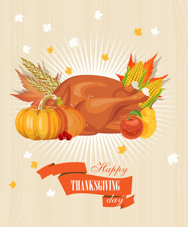 family vacations: Happy Thanksgiving Day greeting card with pumpkin, autumn leaves and space for your text. Illustration
