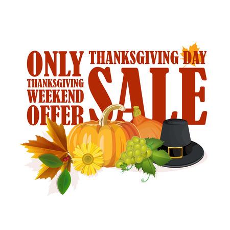 thanksgiving day symbol: Ringraziamento giorno di vendita, autoadesivo, etichetta o l'etichetta decorata con foglie di acero e zucche su sfondo bianco.