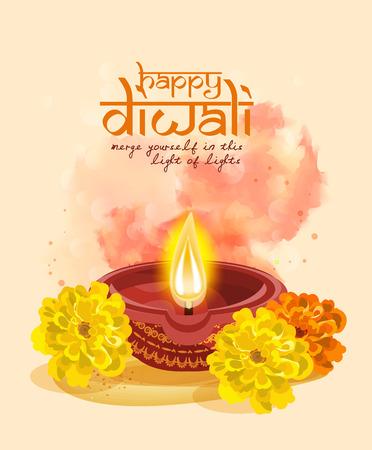 Vector greeting card for Hindu community festival Diwali . Happy Diwali Indian Religious festival background illustration.