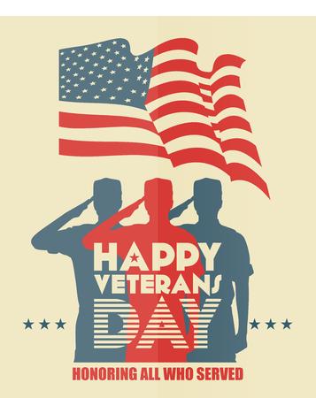 silhouette soldat: Anciens combattants affiche du jour. L'armée américaine forces armées soldat en silhouette saluer Illustration