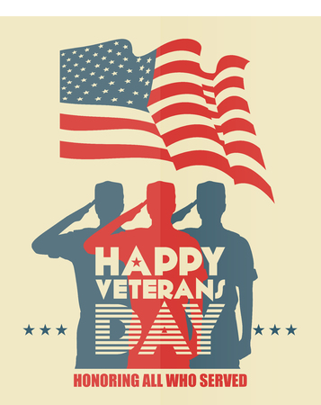 veterans: Veterans day poster. US military armed forces soldier in silhouette saluting