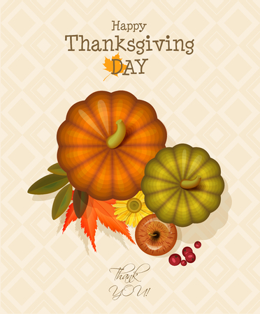 indian happy family: Happy Thanksgiving Day greeting card with pumpkin, autumn leaves and space for your text. Illustration