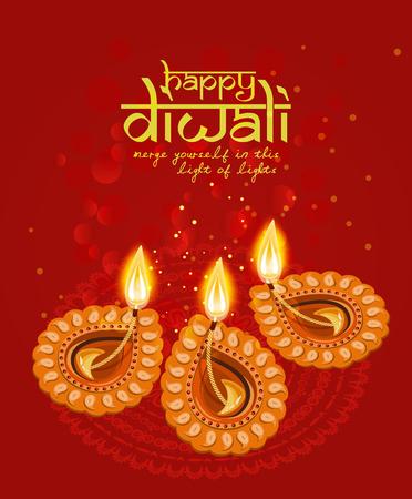 diwali: Vector greeting card for Hindu community festival Diwali . Happy Diwali Indian Religious festival background illustration.