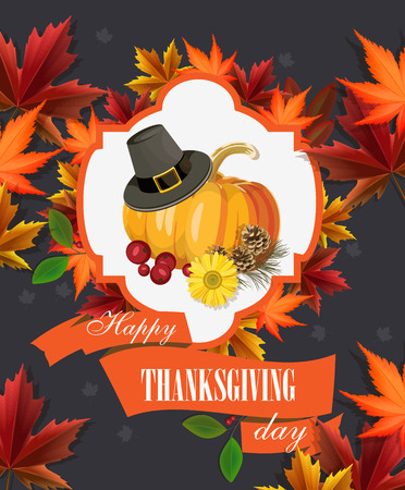 thanksgiving family: Happy Thanksgiving Day greeting card with pumpkin, autumn leaves and space for your text. Illustration