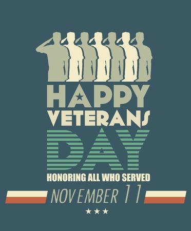 soldado: Veteranos cartel día. Militares estadounidenses fuerzas armadas soldado en silueta saludando Vectores