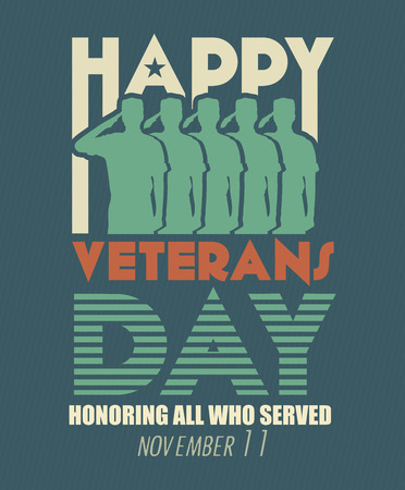 national hero: Veterans day poster. US military armed forces soldier in silhouette saluting