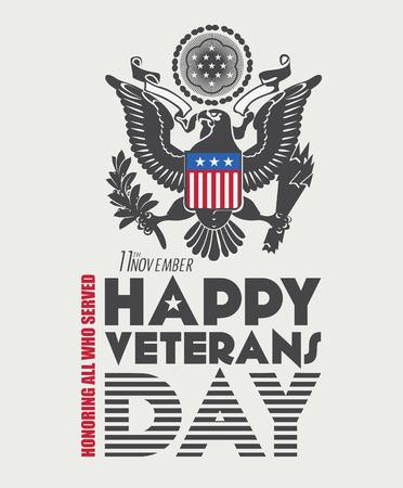 Veteranen dag poster. Amerikaanse militaire strijdkrachten soldaat in silhouet Groeten Stock Illustratie