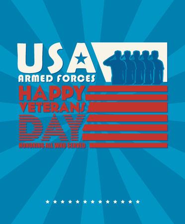 hombre rojo: Veteranos cartel día. Militares estadounidenses fuerzas armadas soldado en silueta saludando Vectores