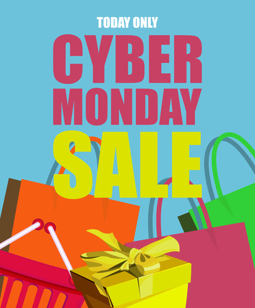 black: Cyber monday poster. Sale and discount