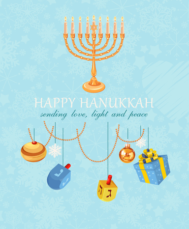 hanukkah: Happy Hanukkah greeting card design, jewish holiday. Vector illustration