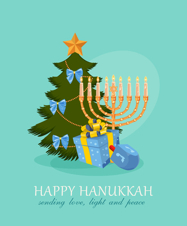 greetings from: Happy Hanukkah greeting card design, jewish holiday. Vector illustration