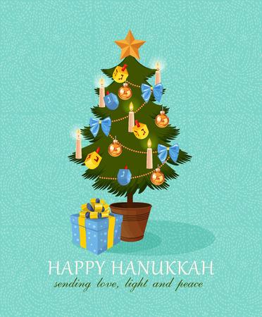 happy christmas: Happy Hanukkah greeting card design, jewish holiday. Vector illustration