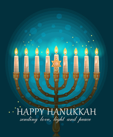 chanukah: Happy Hanukkah greeting card design, jewish holiday. Vector illustration