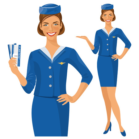 Air hostess. Stewardess holding ticket in her hand. Woman in official clothes Illustration