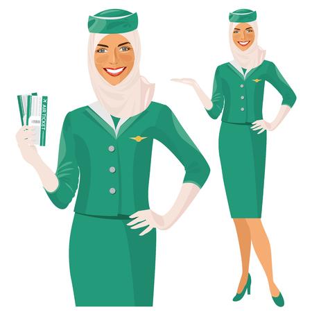 mujer alegre: �rabe Presentadora de aire. Azafata musulmana sostiene billete en la mano. Mujer en ropa oficiales Vectores