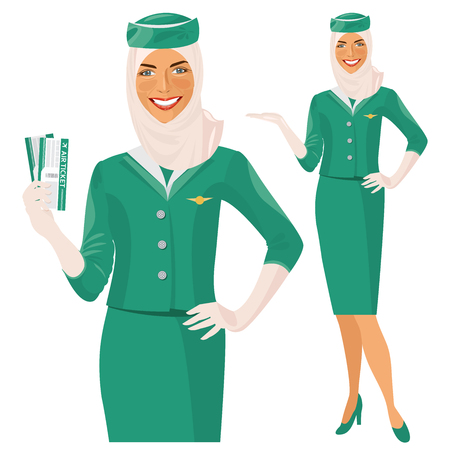 Arab Air hostess. Muslim Stewardess holding ticket in her hand. Woman in official clothes