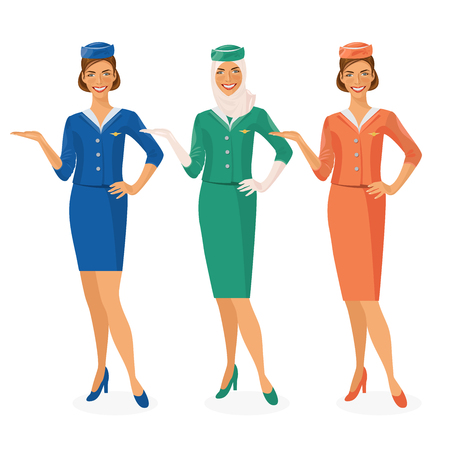 Set of 3 air hostesses Dressed In Uniform With Color Variants. Arab and European stewardess. illustration Vectores